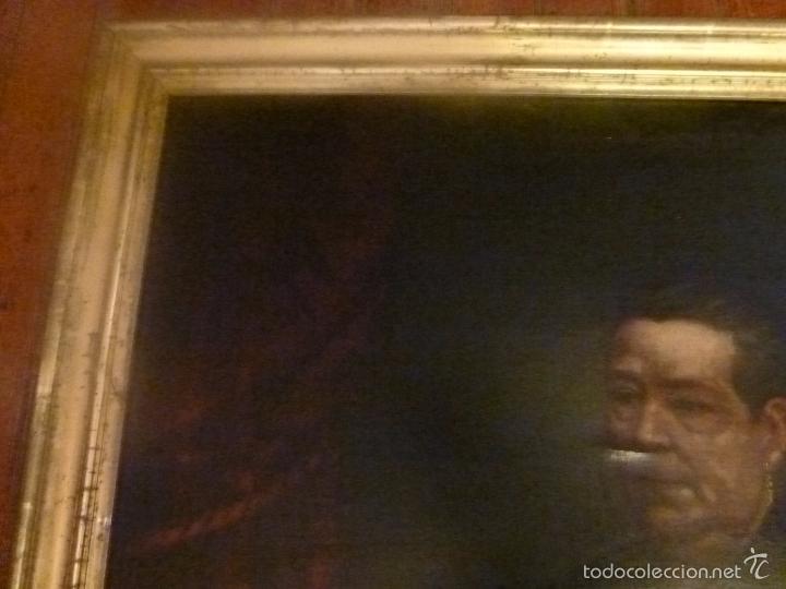 Arte: oleo sobre lienzo escuela mallorquina retrato de señora - Foto 6 - 57030058