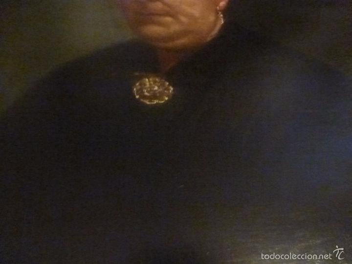 Arte: oleo sobre lienzo escuela mallorquina retrato de señora - Foto 10 - 57030058