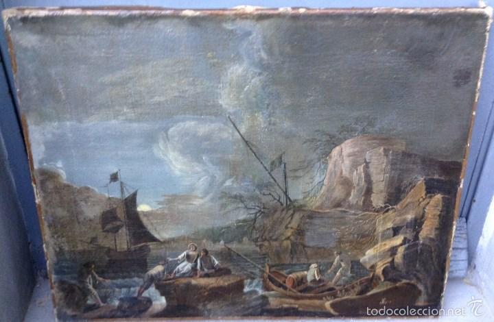 EUROPEO XVIII (FIRMA MONOGRAMA) - ÓLEO SOBRE TELA (REENTELADO) (Arte - Pintura - Pintura al Óleo Antigua siglo XVIII)