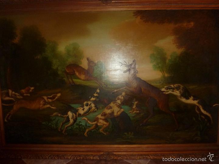 OLEO SOBRE LIENZO ESCENA DE CAZA (Arte - Pintura - Pintura al Óleo Moderna siglo XIX)