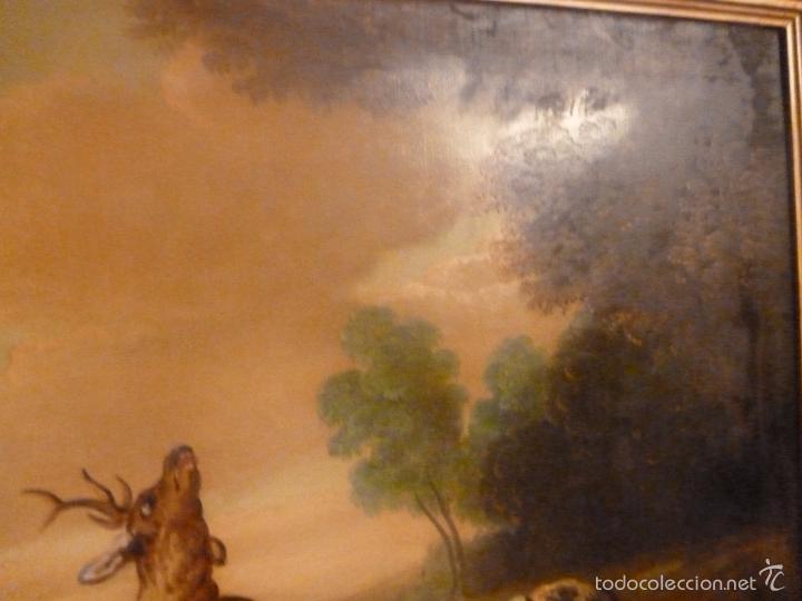 Arte: oleo sobre lienzo escena de caza - Foto 4 - 57088735
