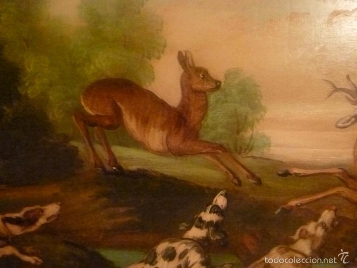 Arte: oleo sobre lienzo escena de caza - Foto 8 - 57088735