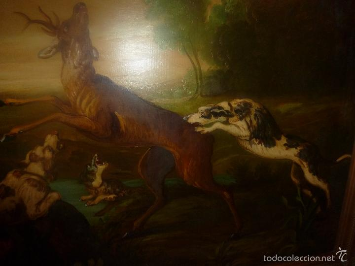 Arte: oleo sobre lienzo escena de caza - Foto 10 - 57088735