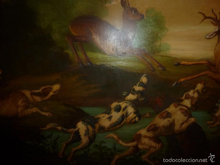 Arte: oleo sobre lienzo escena de caza - Foto 11 - 57088735