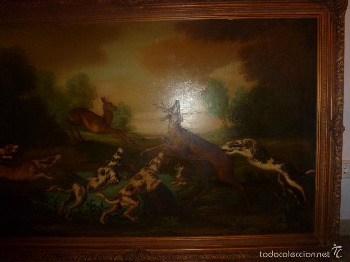 Arte: oleo sobre lienzo escena de caza - Foto 12 - 57088735