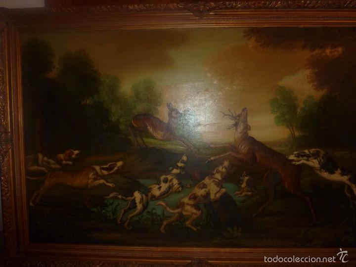 Arte: oleo sobre lienzo escena de caza - Foto 13 - 57088735