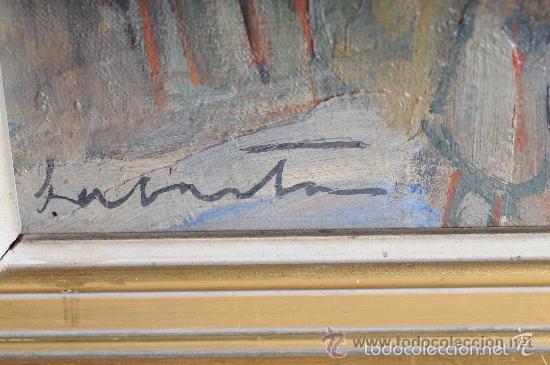 Arte: ENRAMADO. Óleo sobre tela ORIGINAL. Firmado: LABARTA. Garraf 1942. - Foto 4 - 57150554
