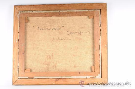 Arte: ENRAMADO. Óleo sobre tela ORIGINAL. Firmado: LABARTA. Garraf 1942. - Foto 5 - 57150554