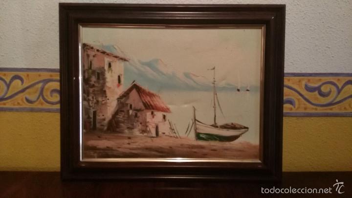 BONITO CUADRO PINTURA AL OLEO SOBRE LIENZO, PAISAJE MARITIMO. (Arte - Pintura - Pintura al Óleo Antigua sin fecha definida)
