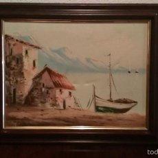 Arte: BONITO CUADRO PINTURA AL OLEO SOBRE LIENZO, PAISAJE MARITIMO.. Lote 57164439