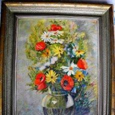 Arte: ROBER KOHL AUSTRIA 1891-1944 EXCELENTISIMO BODEGON DE FLORES OLEO/CARTON 77X65 CMS. Lote 42675502