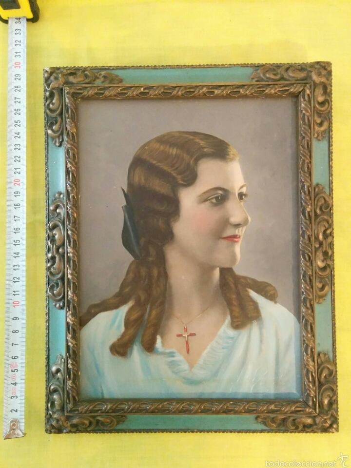 cuadro pintura oleo retrato mujer antiguo con p - Comprar Pintura al ...