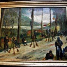 Arte: ANDRE DEVAMBEZ PARIS 1867-1943 ESCENA MILITAR SOLDADOS DESCANSANDO O/L FIRMADO INICIALES 67X54 CMS. Lote 40442419