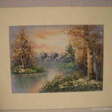Arte: OLEO CON PASPARTU PAISAJE FLUVIAL. Lote 57217078