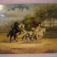 Arte: OLEO SOBRE TABLA DOMA DE CABALLOS. Lote 57217199