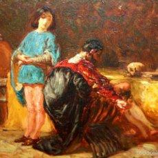 Arte: E2-060. CABALLERO Y PAJE. ÓLEO SOBRE TABLEX. FIRMADO A. MAS FONDEVILA. ESPAÑA. XIX-XX.. Lote 57229422