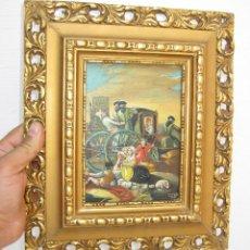 Arte: PRECIOSO CUADRO OLEO ESCENA ESTILO XVIII SOBRE TABLA Y MARCO MADERA DORADO FIRMADO Y FECHADO. Lote 57292158