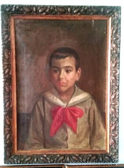 JOSÉ NOGALES SEVILLA (MÁLAGA, 1860-1939) RETRATO DE PEPITO FRAGOSO (AÑO 1921) (Arte - Pintura - Pintura al Óleo Moderna siglo XIX)
