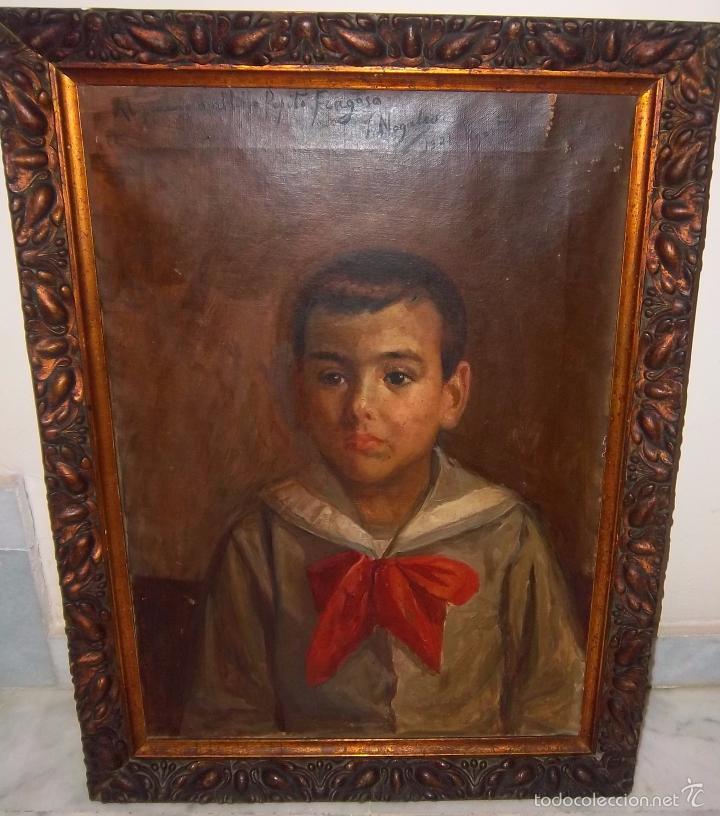 Arte: JOSÉ NOGALES SEVILLA (MÁLAGA, 1860-1939) RETRATO DE PEPITO FRAGOSO (AÑO 1921) - Foto 2 - 57296041