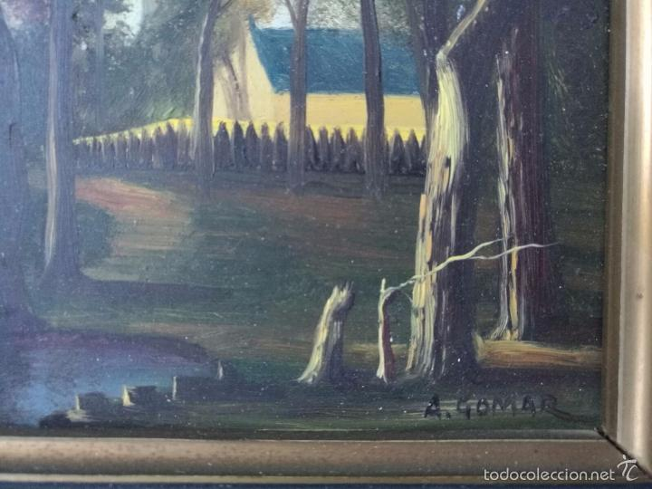 Arte: PAREJA DE CUADROS DE PAISAJES AL OLEO - FIRMADO A. GOMAR - 33 X 27 cm con marco - Foto 4 - 57299014