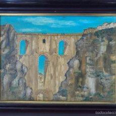 Arte: OLEO SOBRE LIENZO - PAISAJE DE RONDA - FIRMADO M.RUIZ - 1982 - 38X29,5CM. Lote 57299204