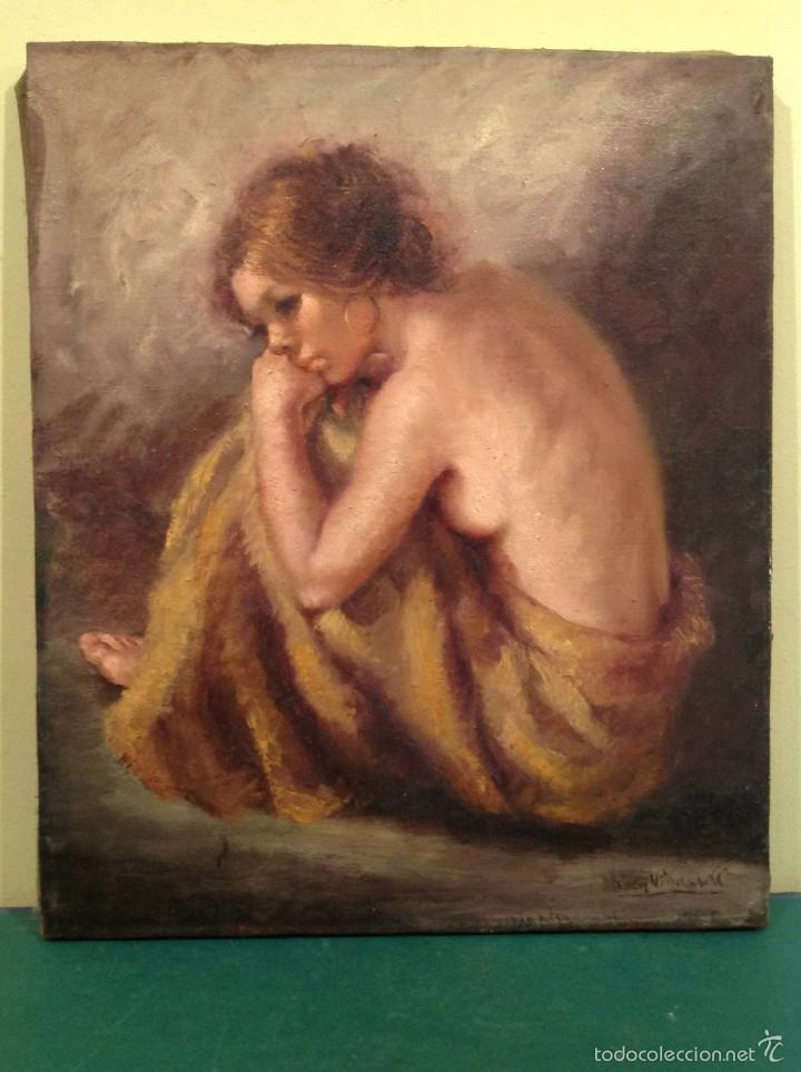 Arte: Antiguo cuadro óleo señora firmado Roser Vinardell 84 X 74CM Con Marco - Foto 2 - 57358941