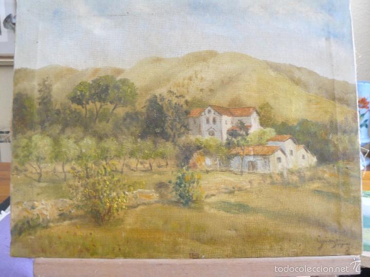 OLEO SOBRE TELA - FIRMADO GUINJOAN - JULIO DE 1945 - PAISAJE (Arte - Pintura - Pintura al Óleo Contemporánea )