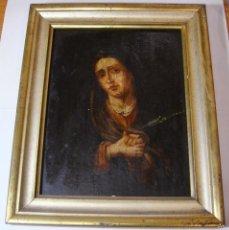 Arte: OLEO SOBLE TABLA DE CAOBA. S.XVIII. DOLOROSA.. Lote 57486506