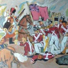 Arte: GRANADEROS INGLESES EN COMBATE , ÓLEO SOBRE TABLA DE 35X45 CM. AUTOR CRESPO. Lote 57519377