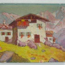 Arte: ANTIGUA PINTURA AL OLEO LIENZO SOBRE CARTON CASA TIROLESA AVILES ASTURIAS FECHADO 1959. Lote 57534610