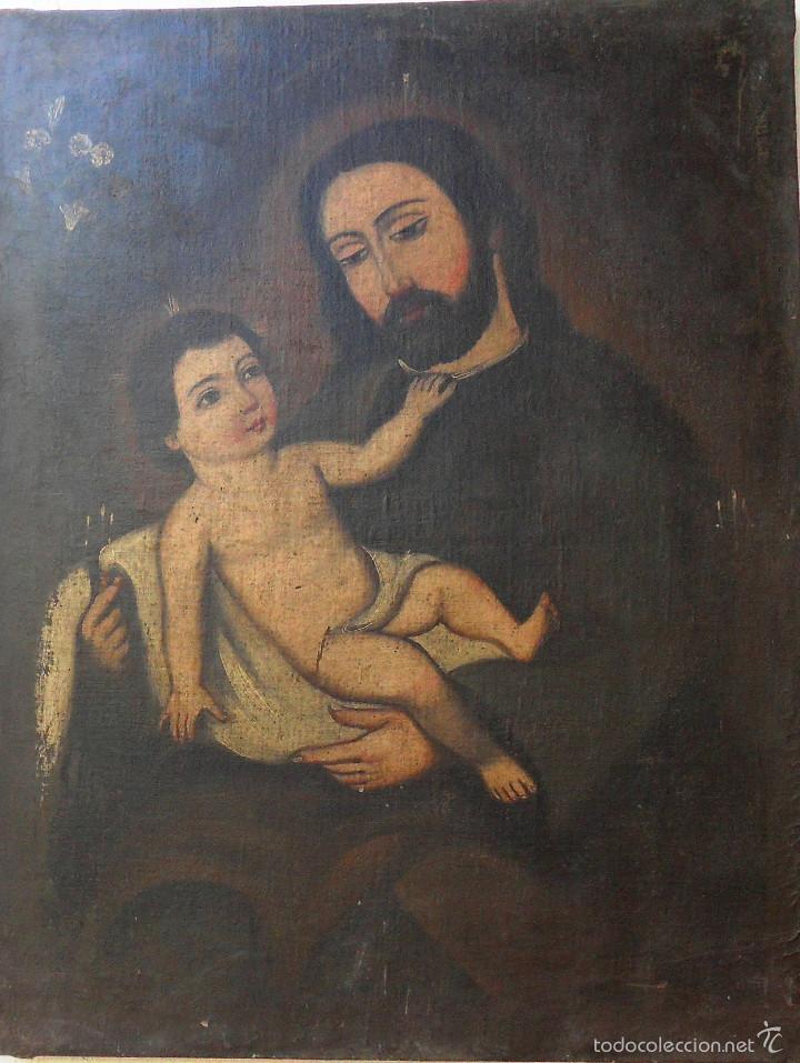 SAN JOSÉ CON EL NIÑO JESÚS. REF. AB 261 (Arte - Pintura - Pintura al Óleo Moderna siglo XIX)