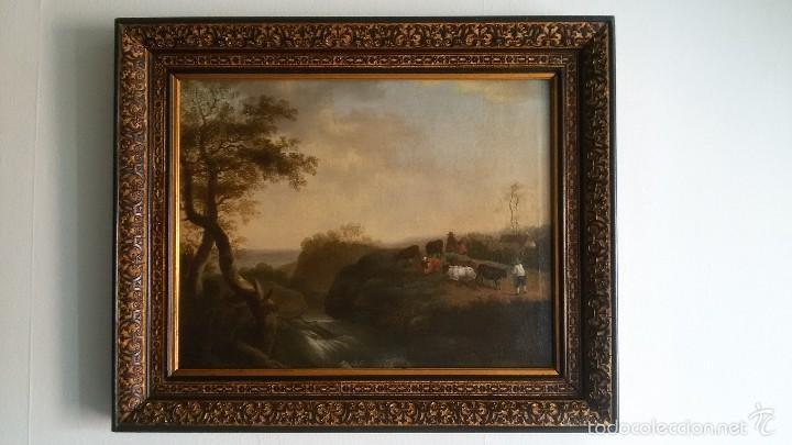 PAISAJE BUCOLICO HOLANDES - S.XVIII - OLEO SOBRE LIENZO - IMPORTANTE MARCO - ESCUELA HOLANDESA - (Arte - Pintura - Pintura al Óleo Antigua siglo XVIII)