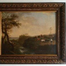 Arte: PAISAJE BUCOLICO HOLANDES - S.XVIII - OLEO SOBRE LIENZO - IMPORTANTE MARCO - ESCUELA HOLANDESA -. Lote 119155479