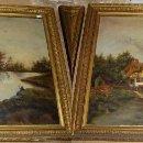 Arte: BONITA PAREJA DE OLEOS SOBRE LIENZO. S.XIX. PAISAJES CAMPESTRES.. Lote 57580143