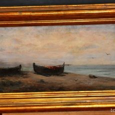 Arte: RICARD URGELL CARRERAS (BARCELONA, 1873 - 1924) OLEO SOBRE TELA. VISTA DE UNA MARINA. Lote 57581904