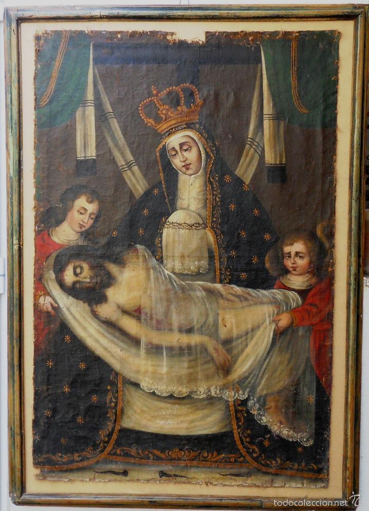 LA PIEDAD .CRISTO YACENTE. REF. AB180 (Arte - Pintura - Pintura al Óleo Antigua siglo XVIII)