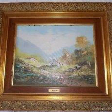 Arte: ANTIGUO OLEO SOBRE TAPIZ LIENZO PAISAJE CASAS // FIRMADO HUMONTES. 1872 ?. Lote 57690136