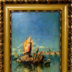 Arte: E2-063. VENECIA. ÓLEO SOBRE TABLA. FIRMADO (ADOLFO) TOMMASI(?). ITALIA(?). 1898.. Lote 57706019