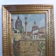 Arte: CUADRO ORIGINAL DE JOSÉ ALMEIDA CORRALES - SALAMANCA VISTA DE SUS CATEDRALES - ENMARCADO EN MADERA -. Lote 57723311