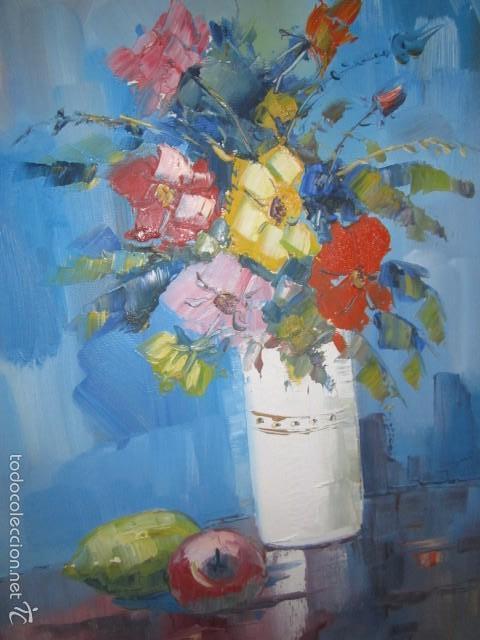 Arte: Óleo sobre lienzo firmado Landelas 72. Jarrón con flores. - Foto 2 - 57726391