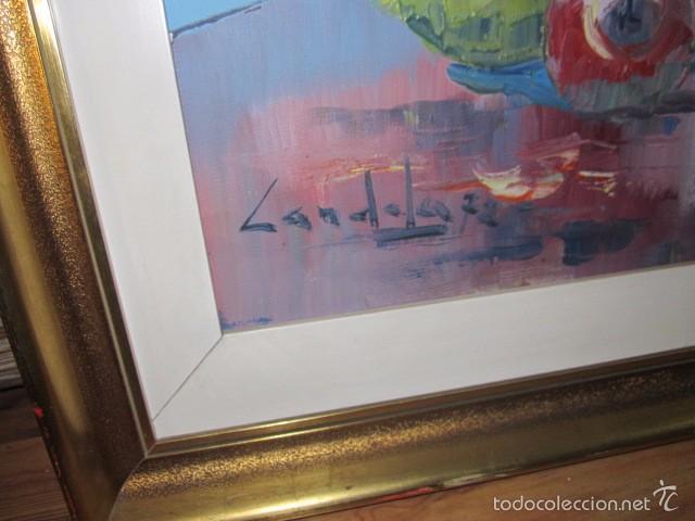 Arte: Óleo sobre lienzo firmado Landelas 72. Jarrón con flores. - Foto 3 - 57726391