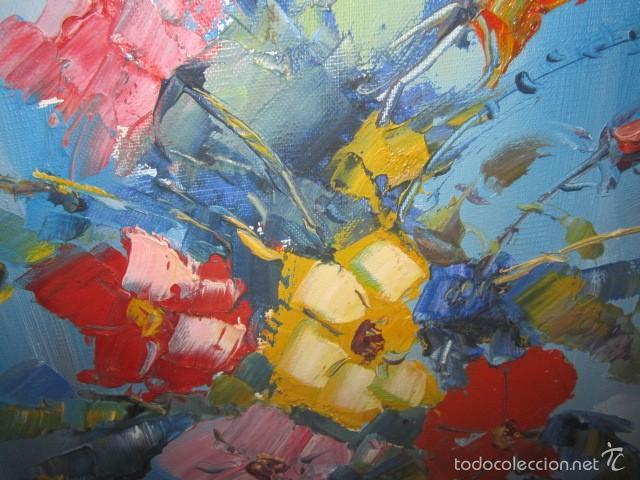 Arte: Óleo sobre lienzo firmado Landelas 72. Jarrón con flores. - Foto 4 - 57726391