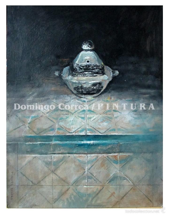 'AZUCARERO DE LA CARTUJA SOBRE AZULEJO PORTUGUÉS' DOMINGO CORREA. ÓLEO. (Arte - Pintura Directa del Autor)
