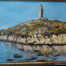 Arte: LAS LAPAS LA TORRE LA CORUÑA ÓLEO TABLA FIRMADO VIZOSO. Lote 57745333