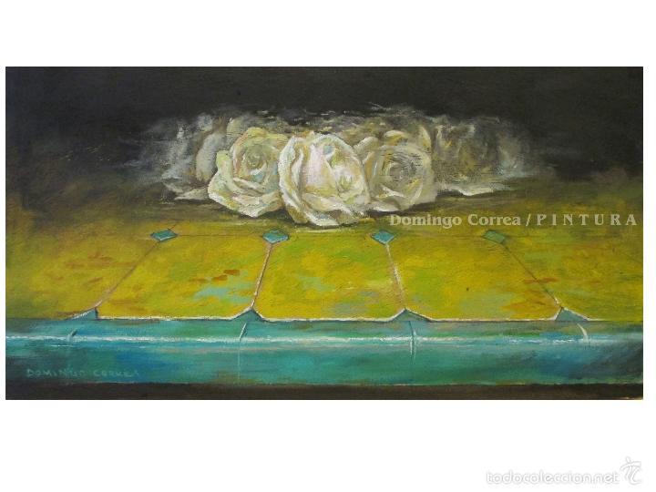 'AZULEJO III. ROSAS SOBRE AMARILLO' DOMINGO CORREA. ÓLEO TABLA. (Arte - Pintura Directa del Autor)