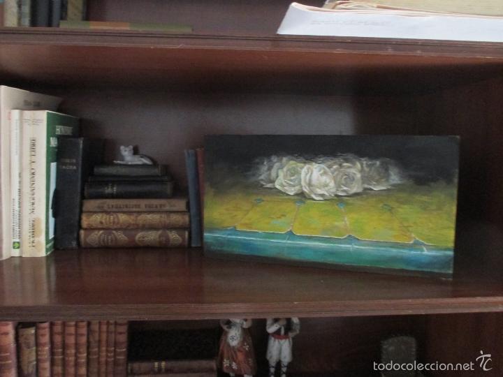 Arte: 'AZULEJO III. ROSAS SOBRE AMARILLO' DOMINGO CORREA. ÓLEO TABLA. - Foto 2 - 57769638
