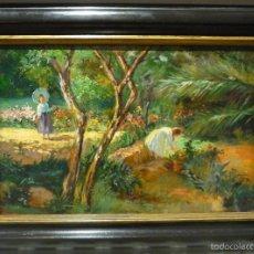 Arte: DOS NIÑAS EN EL JARDIN POR JOSE VILLEGAS CORDERO (1844-1921). Lote 57773109