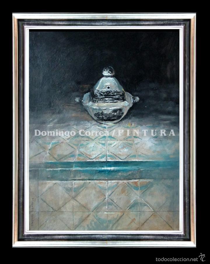 Arte: 'AZUCARERO DE LA CARTUJA SOBRE AZULEJO PORTUGUÉS' DOMINGO CORREA. ÓLEO. - Foto 2 - 57730179