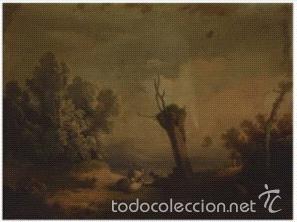 PAISAJE ESCUELA HOLANDESA SIGLO XIX. LIENZO 65X39. (Arte - Pintura - Pintura al Óleo Moderna siglo XIX)