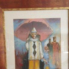 Arte: CUADRO AL OLEO DEL PINTOR ENRIQUE BARCELONA CON TÍTULO BAJO EL PARAGUAS. Lote 57961729